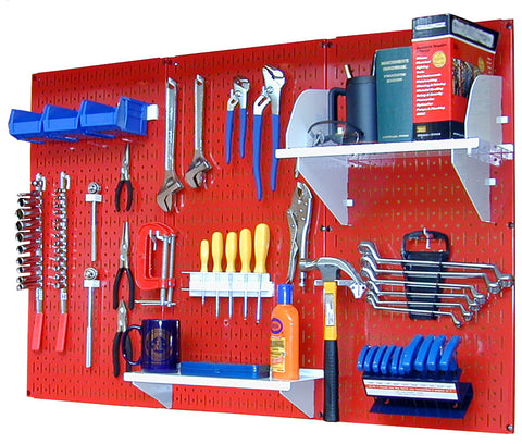 4' Metal Pegboard Standard Tool Organizer Kit with Accessories - Red/White