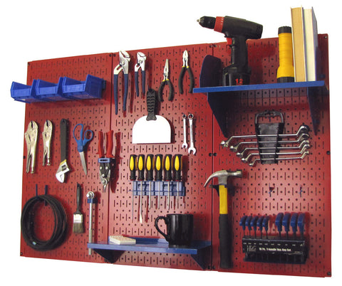 4' Metal Pegboard Standard Tool Organizer Kit with Accessories - Red/Blue