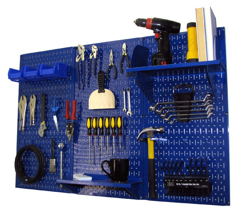 4' Metal Pegboard Standard Tool Organizer Kit with Accessories - Blue/Blue