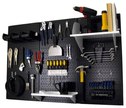 4' Metal Pegboard Standard Tool Organizer Kit with Accessories - Black/White