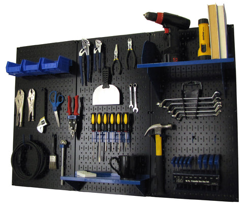 4' Metal Pegboard Standard Tool Organizer Kit with Accessories - Black/Blue
