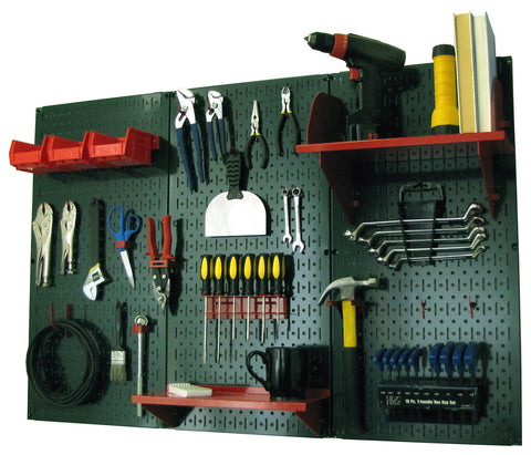 4' Metal Pegboard Standard Tool Organizer Kit with Accessories - Green/Red