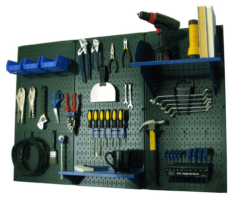 4' Metal Pegboard Standard Tool Organizer Kit with Accessories - Green/Blue