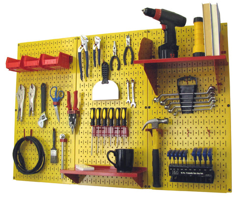 4' Metal Pegboard Standard Tool Organizer Kit with Accessories - Yellow/Red