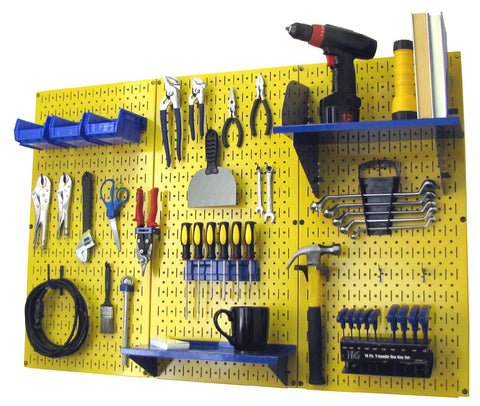 4' Metal Pegboard Standard Tool Organizer Kit with Accessories - Yellow/Blue