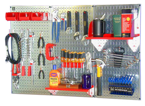 4' Metal Pegboard Standard Tool Organizer Kit with Accessories - Galvanized Metallic/Red