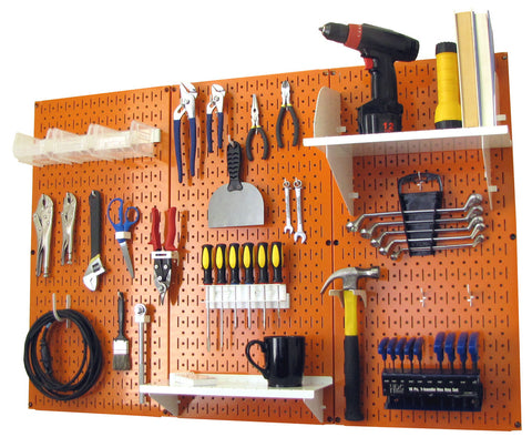 4' Metal Pegboard Standard Tool Organizer Kit with Accessories - Orange/White