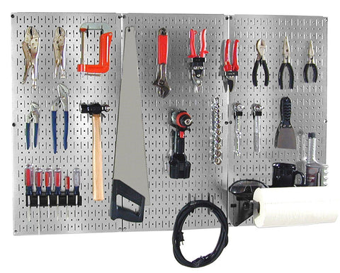 4' Metal Pegboard Basic Tool Organizer Kit with Accessories - Metallic Galvanized/Black