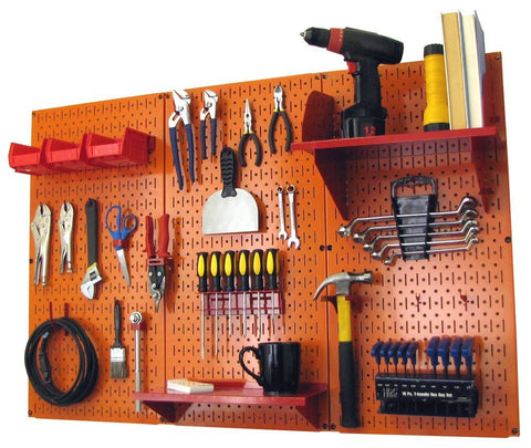 4' Metal Pegboard Standard Tool Organizer Kit with Accessories - Orange/Red
