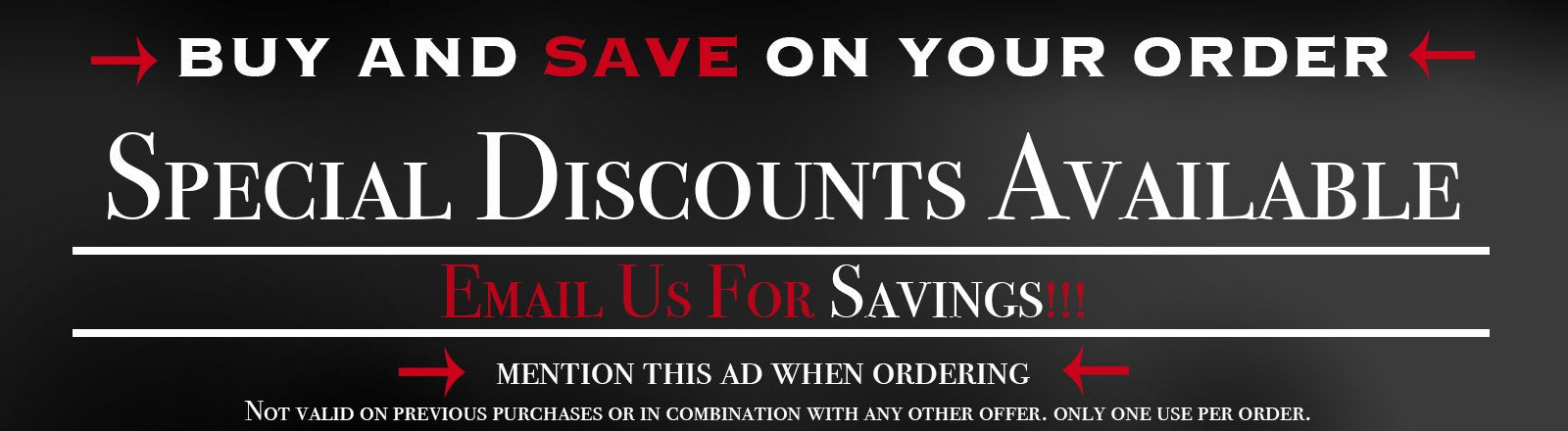 Email us for savings!