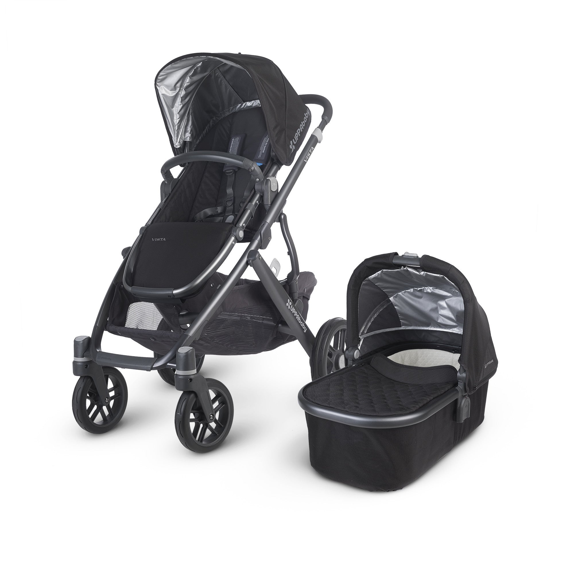 Vista Uppababy Pram Jake Black 2015 and Maxi Cosi Cabrio Car Seat - Baby Gosling  - 1