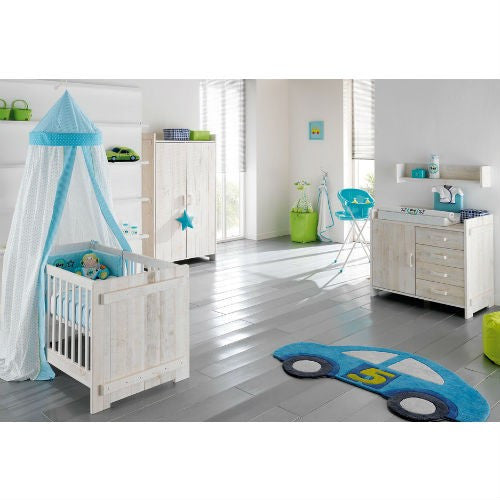 Europe Baby Jelle Cot 3 Piece Room Set (White) - Baby Gosling  - 1