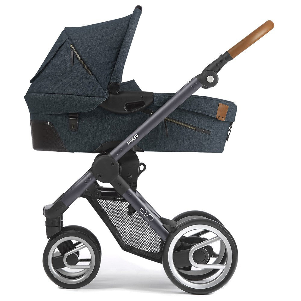 Mutsy Evo Dark Grey Complete Pushchair (Industrial Blue) Complete with Carrycot & Raincover - Baby Gosling  - 1