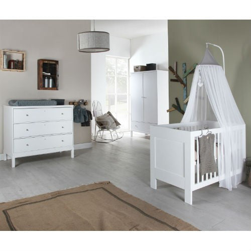 Europe Baby Pure Kids 3 Piece Cot Bed Room Set (White) - Baby Gosling  - 1