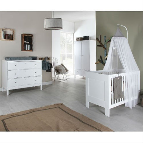 Europe Baby Pure Kids 3 Piece Cot Bed Room Set (White)