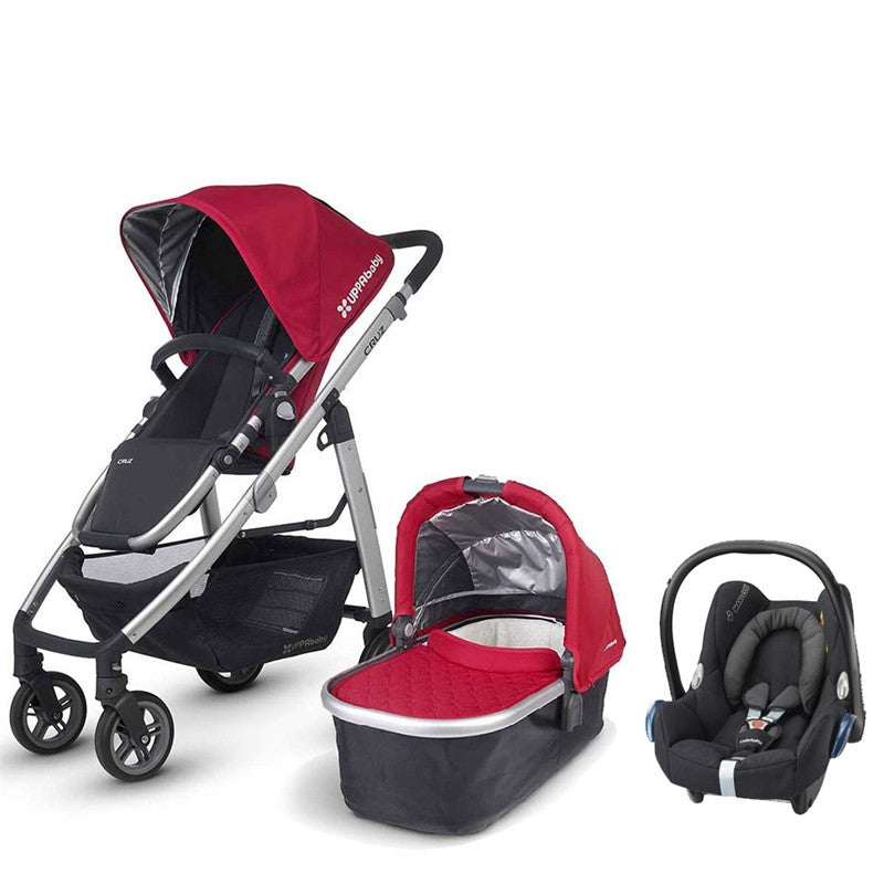 Uppababy Cruz Pram+ Carrycot Denny Red 2015 and Maxi Cosi Cabrio Car Seat - Baby Gosling  - 1