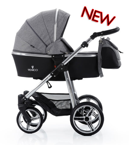 VENICCI DENIM GREY SILVER SPECIAL EDITION TRAVEL SYSTEM