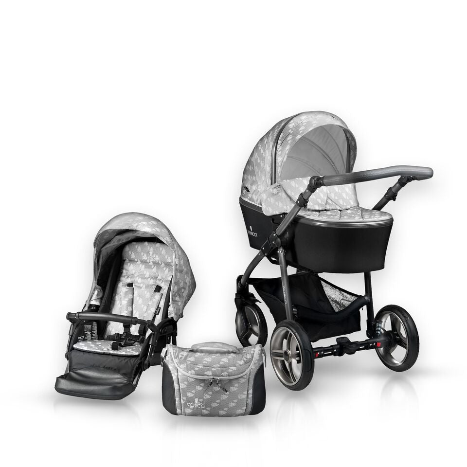 New! Venicci 3V Grey Travel System with Car Seat - Baby Gosling  - 1