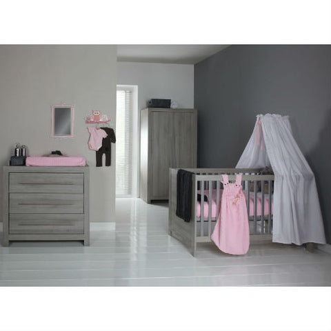 Europe Baby Vicenza grey Cot Bed 3 Piece Room Set