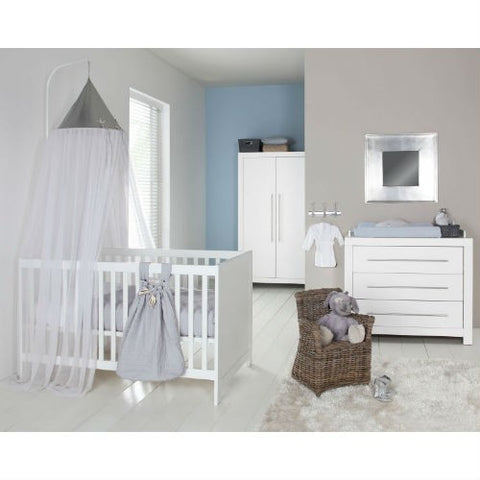 Europe Baby Vicenza white Cot Bed 3 Piece Room Set