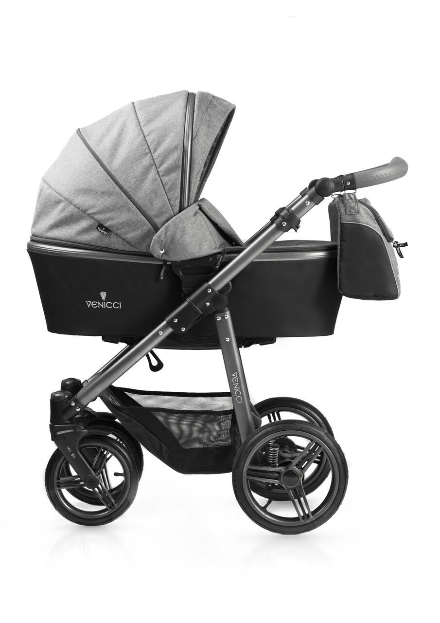 New! Venicci Carbo Grey Travel System with Maxi Cosi adaptors (No car seat) - Baby Gosling