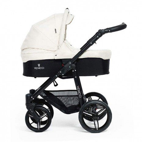 Venicci Travel System (Open Basket) - Black Chassis / Cream - Baby Gosling  - 1