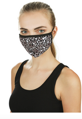 Leopard Print Fashion Face Covering With 5-Layer Filter Inserts