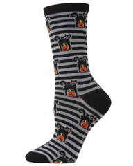 Cat & Pumpkin Striped Crew Socks
