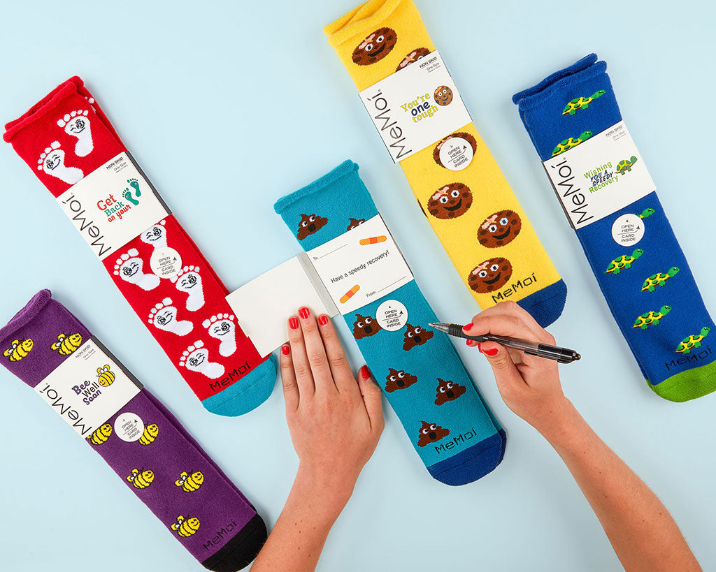Show you care & wish them a speedy recovery with our Get Well Greeting Card Socks