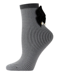 Houndstooth Pearl Bow Anklet Socks