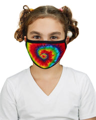 Tie Dye Kids Fashion Face Covering With 5-Layer Filter Inserts