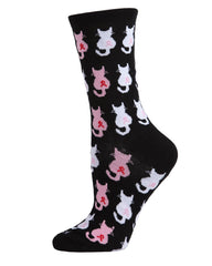 Pink Cat Ribbon Socks