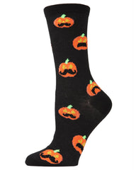 Pumpkin Stache Crew Socks