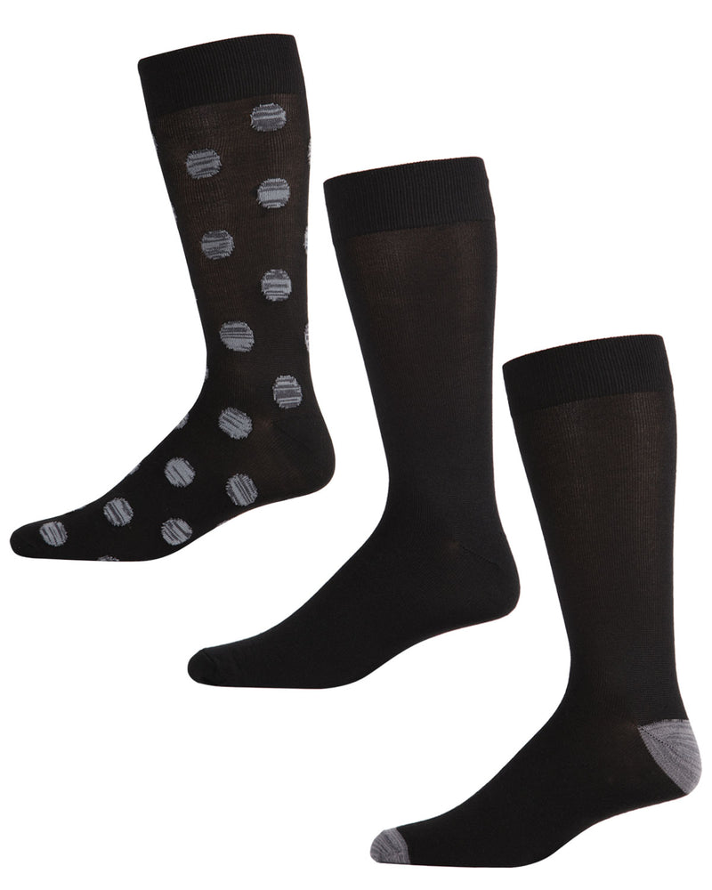 Men's Supersoft Polkadot Crew Socks 3-Pack | mens clothing by MeMoi | fun socks for men | 183760-99854-13 15 -2