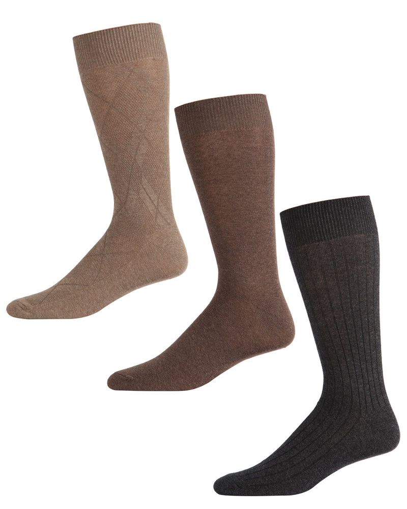 Men's Luxury Microfiber Diamond Crew Socks 3-Pack | mens clothing by MeMoi | fun socks for men | 183766-KBG-10 13 -2