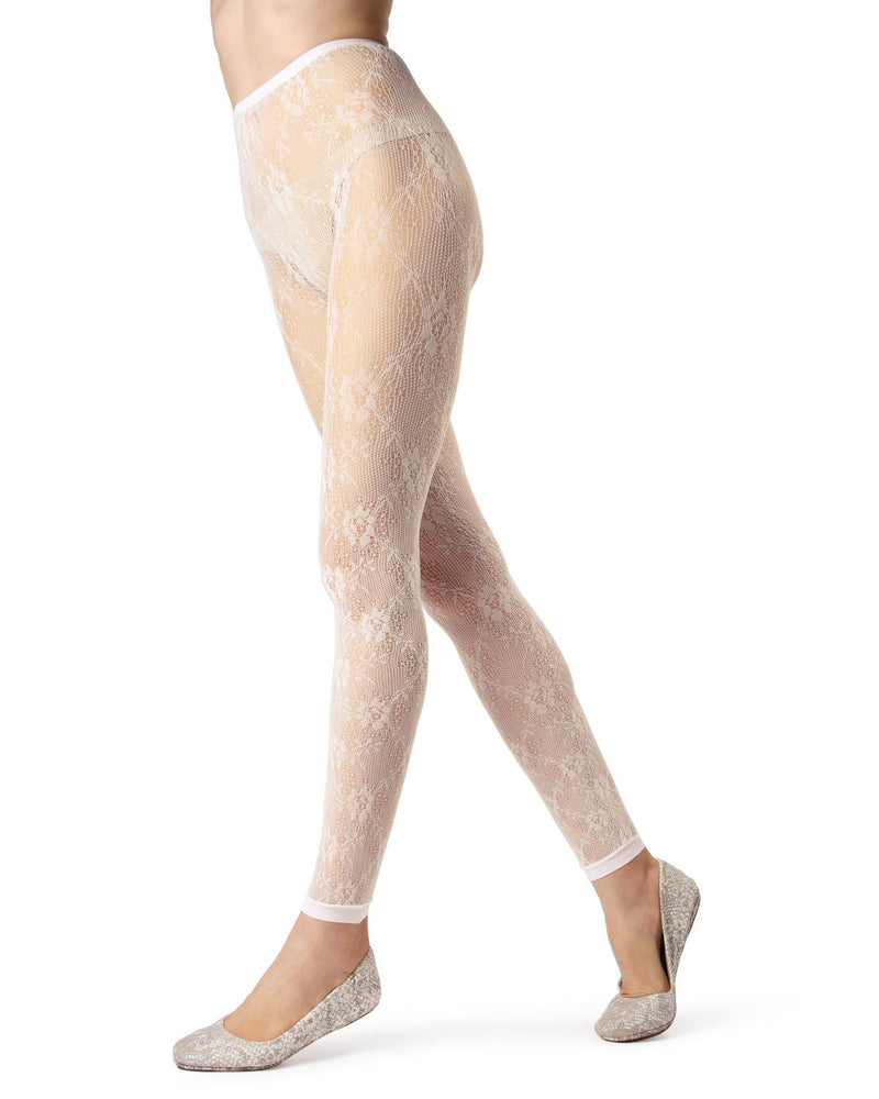MeMoi Ivory Romantic Lace Footless Tights | Women's Tights - Hosiery - Pantyhose