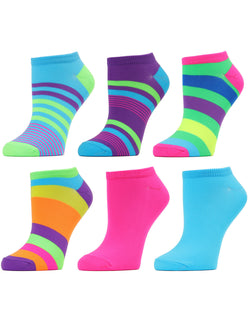 MeMoi Stripe Fusion Microfiber Low Cut Socks 6-Pack