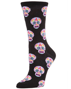 MeMoi Sugar Skull Crew Socks | Fun Cute Crazy Halloween, Mardi Gras / Fat Tuesday or Día de Muertos (Day of the Dead Festival) Novelty Socks | Women's Black MF7-950