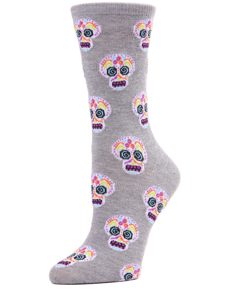 MeMoi Sugar Skull Crew Socks | Fun Cute Crazy Halloween, Mardi Gras / Fat Tuesday or Día de Muertos (Day of the Dead Festival) Novelty Socks | Women's Med Gray Heather MF7-950