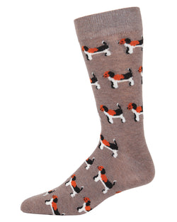 Dog Cashmere Men's Crew Socks | mens novelty socks by MeMoi | mens clothing | ACL05871-27031-10 13 hemp heather -1