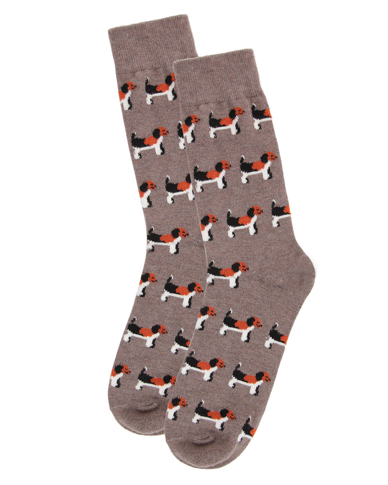 Dog Cashmere Men's Crew Socks | mens novelty socks by MeMoi | mens clothing | ACL05871-27031-10 13 hemp heather -3