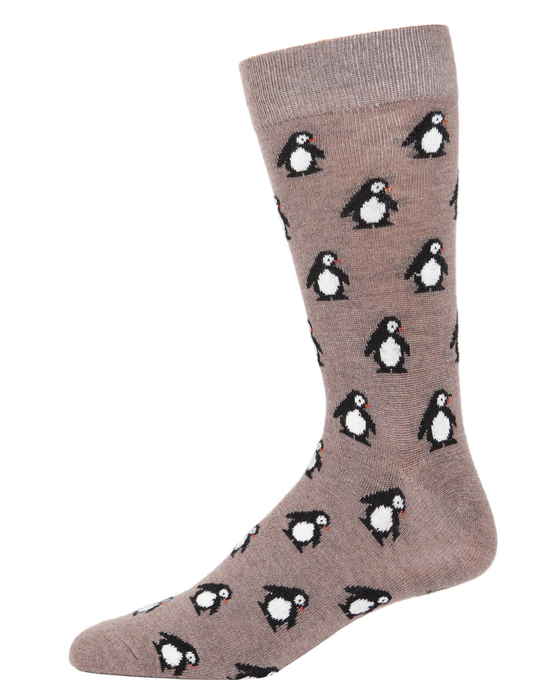 Penguins Cashmere Men's Crew Socks | mens novelty socks by MeMoi | mens clothing | ACL05874-27031-10 13 hemp heather -1