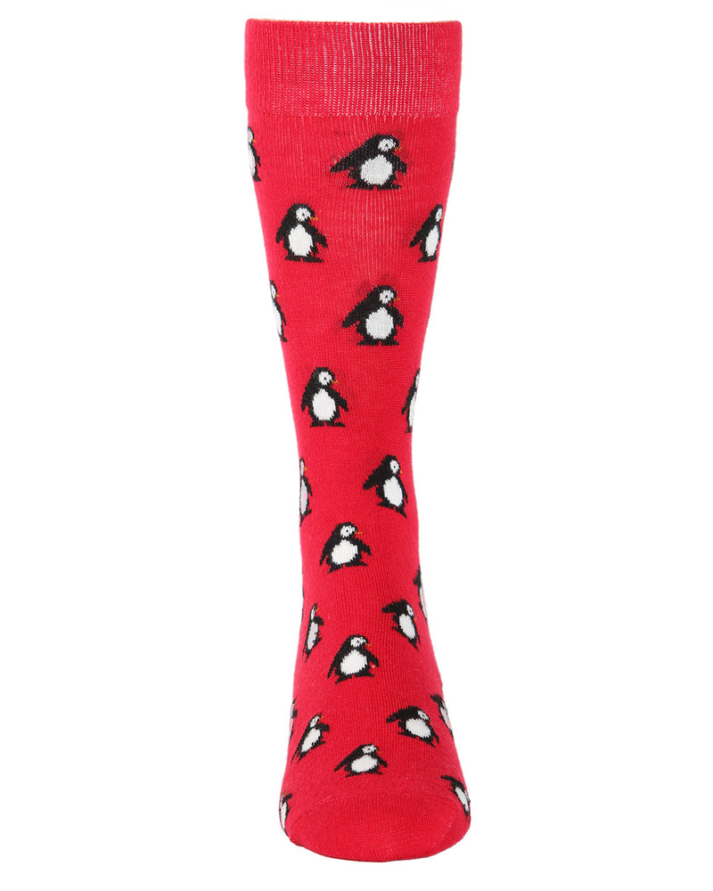 Penguins Cashmere Men's Crew Socks | mens novelty socks by MeMoi | mens clothing | ACL05874-62009-10 13 13 red -2