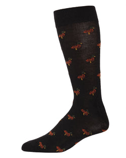 Duck Cashmere Men's Crew Socks | mens novelty socks by MeMoi | mens clothing | ACL05875-00001-10 13 black -1