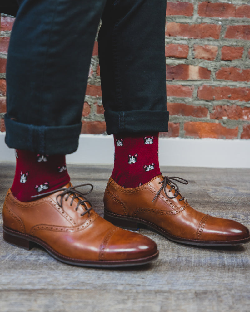 Frenchies Cashmere Men's Crew Socks | Fun Mens Novelty socks by MeMoi | ACL05876-50110-10 13 Cabernet - Lifestyle