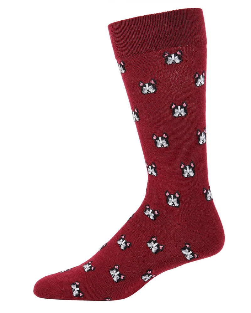 Frenchies Cashmere Men's Crew Socks | Fun Mens Novelty socks by MeMoi | ACL05876-50110-10 13 Cabernet -1
