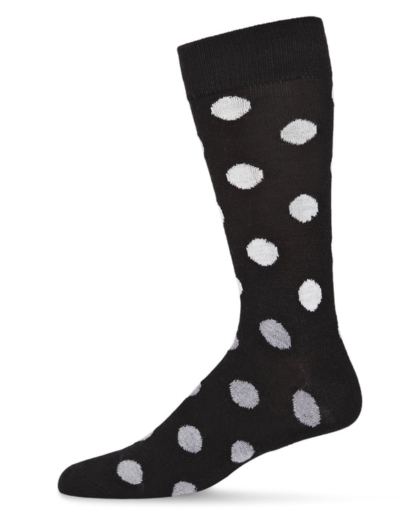 Polka Dot Cashmere Men's Crew Socks | womens novelty socks by MeMoi | Womens clothing | ACL05877-00001-10 13 black -1