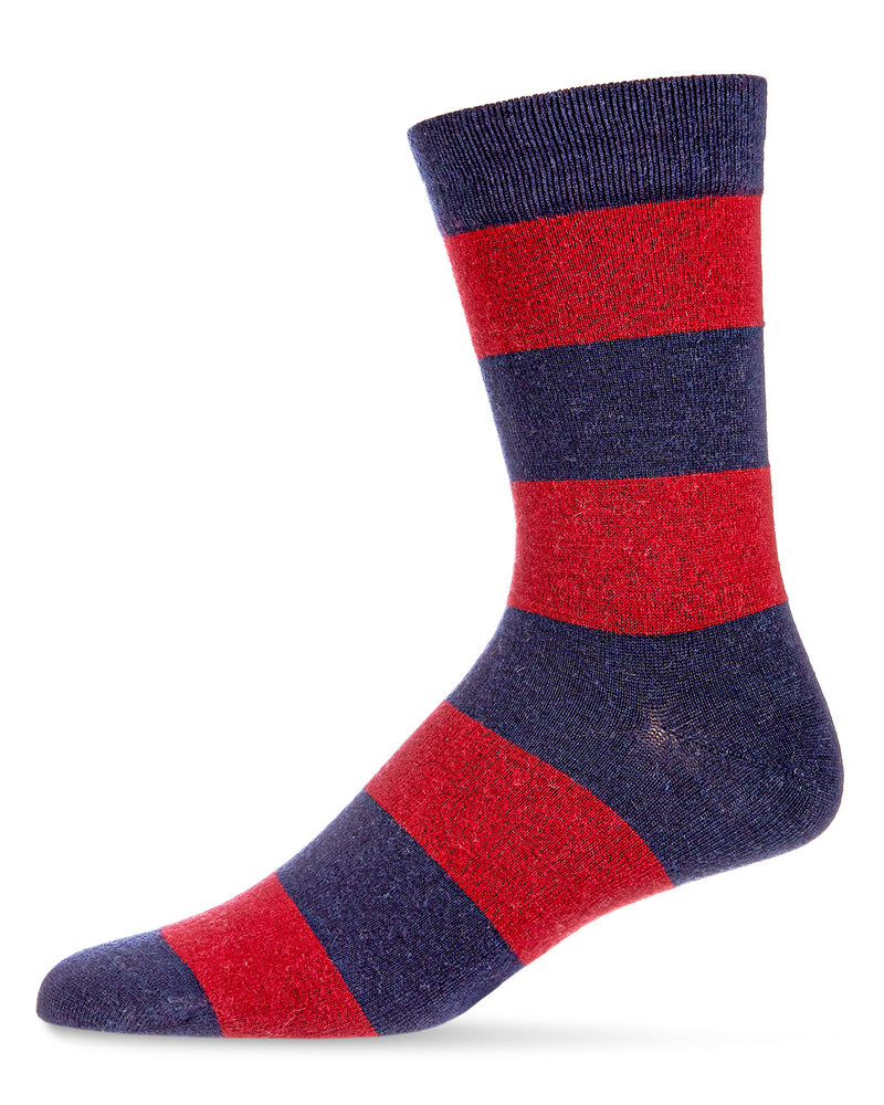 Mens Striped Cashmere Blend Crew Socks