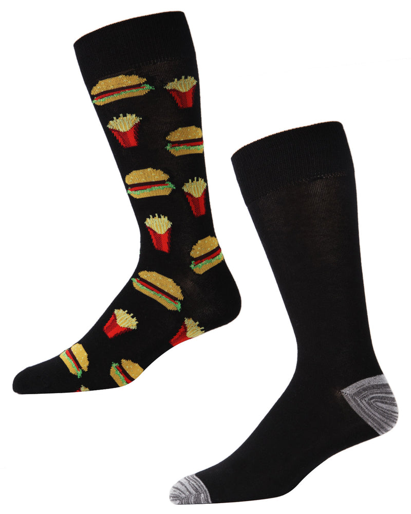 Men's Bamboo Blend Burger & Fries Crew Socks 2-Pack | mens clothing by MeMoi | fun mens novilty socks | 182116-00001-10 13