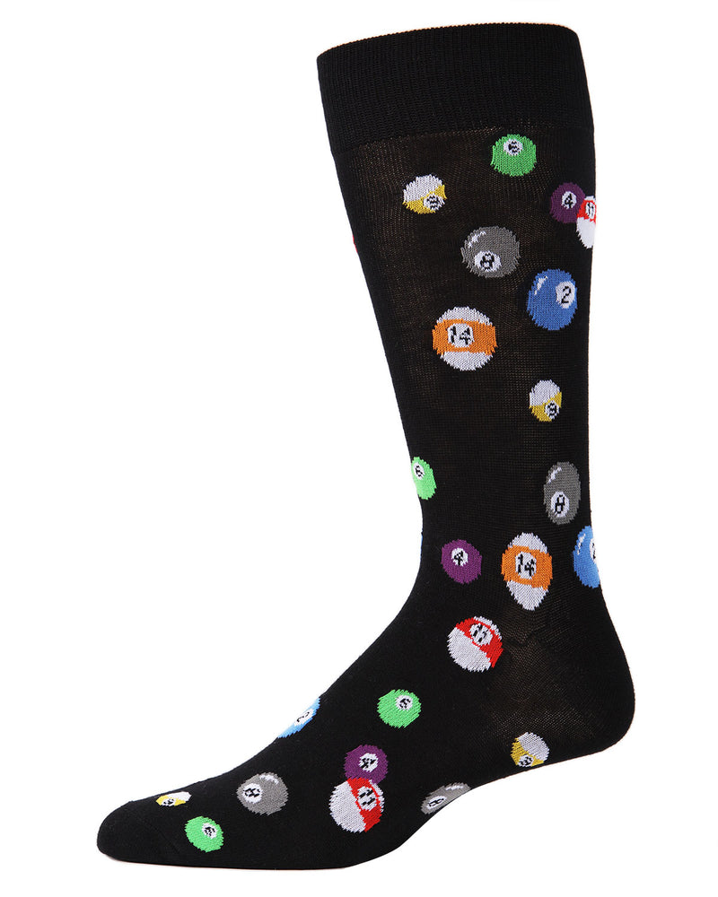 Men's Bamboo Blend Billiard Ball Crew Socks 2-Pac | mens clothing by MeMoi | fun mens novilty socks | 182118-00001-10 13 -2